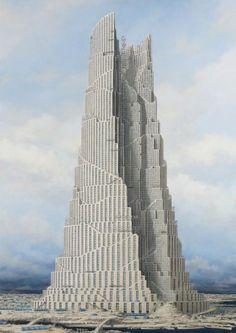 Minoru Nomata - Official website of Website 又穫 Conceptual Architecture, Unique Architecture, Futuristic Architecture, Timeline Architecture, Fantasy City, Fantasy Places, Tower Of Babel, Fantasy Concept Art, Futuristic City