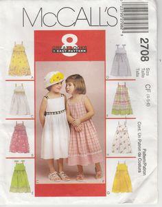 a9df7d7984fb Easy Dress Pattern Summer 8 Looks Girls Size 4 -5 - 6 uncut McCalls 2708