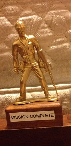 Soldier Trophy  Easily made by spraying a green army man gold and gluing it to a piece of scrap wood