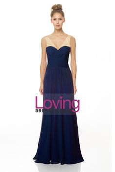2015 V Neck A Line Bridesmaid Dress With Beads And Ruffles Tulle And Chiffon USD 115.99 LDPLLH5X63 - LovingDresses.com