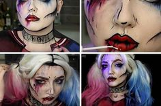Pop Art Grunge Harley Quinn Makeup Tutorial | DIY Costume Makeup, check it out at http://makeuptutorials.com/pop-art-harley-quinn-makeup-tutorial/