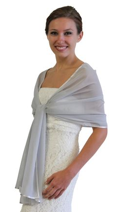 Light Grey Silk Feel Chiffon Bridal Wrap Wedding Stole 7139CH-SILVER. Chiffon SCARF with ribbon trim graces the shoulders, adding a touch of elegance to any look. This special wrap is ideal for brides, bridesmaids, weddings, bridal and formal events during summer.Price: $24.99