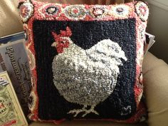 hooked chicken pillow