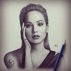 Graphite drawing of Jennifer Lawrence. This is my new favorite! ❤️