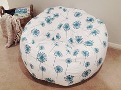 Bean Bag Teenagers Adults Girls Pink, Yellow, Black, Turquoise,Coral Dandelion Floral Lounge Chair, Bedroom Cool Funky Hip Modern Design