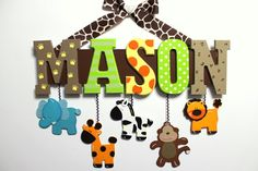 Jungle Animal Baby Name Sign Hand Painted Custom Nursery Decor - Personalized Wall Letters With Hanging Elephant Giraffe Monkey Zebra Lion, $62.00                                                                                                                                                                                 More
