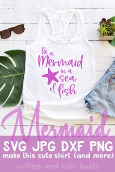 You can make a quick vinyl craft idea using this motivating mermaid SVG file available on Ruffles and Rain Boots. Click through and to get the SVG while it is free! Valentine Crafts For Kids, Crafts To Make And Sell, Mermaid Party Food, Pretty Mermaids, Mermaid Crafts, So Little Time, Cute Shirts, Rain Boots, How To Wear