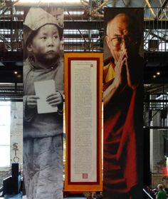 1913 Tibetan Declaration of Independence with photos of His Holiness the Dalai Lama either side of it.
