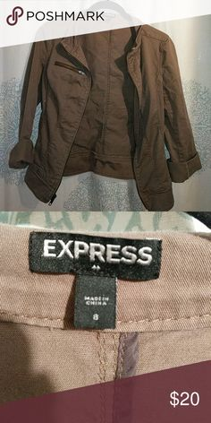 Olive green jacket Olive green jacket with zipper detail Express Jackets & Coats
