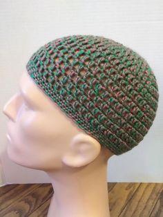 Green and pink kufi beanie skullcap crochet medium by Nadeerah on Etsy