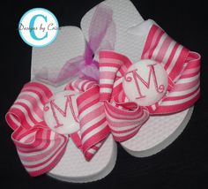 Image detail for -Hot Pink Waves Initial Bow Flip Flops   so cute!