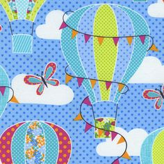 Timeless Treasures House Designer - Day in the Park - Hot Air Balloons in Blue