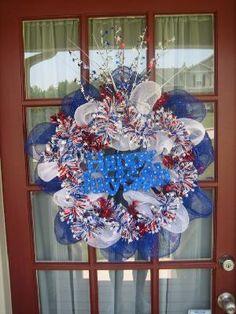 4TH Of July Deco Mesh Wreaths Wreath Crafts, Diy Wreath, Wreath Ideas, July Crafts, Home Crafts, Fourth Of July, 4th Of July Wreath, Holiday Wreaths, Holiday Ideas