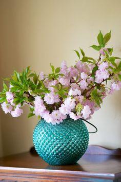 Glass lantern cherry blossoms