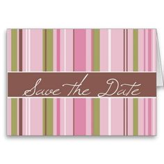 Pink and Green Save The Date Cards