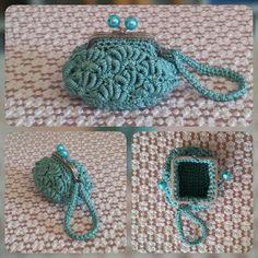 Minibag tiffany con bracciale da polso. Uncinetto. Crochet.
