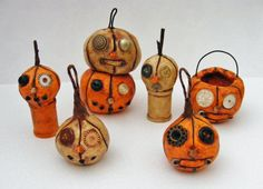 Primitive Steampunk Folk Art Pumpkin Ornament by seasonsart1031, $10.00