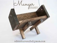 Learn how to make a manger ornament using paint sticks and square dowels. A must have for any nativity themed Christmas tree. Christmas Manger, Christmas Ornaments To Make, Christmas Tree Themes, 12 Days Of Christmas, Homemade Christmas, How To Make Ornaments, Christmas Projects, Christmas Holidays, Christmas Ideas