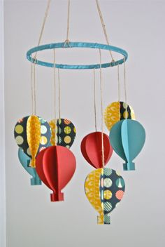 3D Paper Hot Air Balloon Mobile by trailofivy on Etsy, $65.00