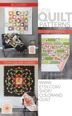 Three new patterns shipping with Blushing Peonies by Robin Pickens (November 2017). Also available now on www.etsy.com/shop/colorandquilt