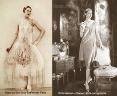 1920s-tempting-frocks-robes-de-style dress and a Chanel evening frock 1926