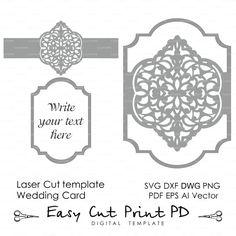 Invitación de la boda este patrón Tarjeta plantilla victoriana mandala encaje (svg, dxf, ai, eps, png pdf) lasercut instantánea descargar Cameo Cricut