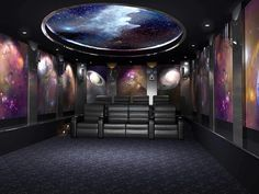Home Theater Basement, Home Theater Decor, Home Theater Rooms, Home Theater Design, Theater Plan, Living Room Theaters, Space Images, Acoustic Panels, Space Theme