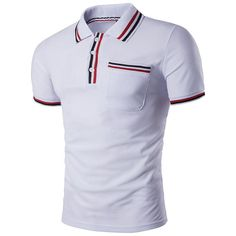 Polo Collar Striped Patch Pocket Men T-Shirt - Look Fashion T Shirt Polo, T Shirt Vest, Collar Shirts, Mens Polo T Shirts, Men's Polo, Men Shirt, Camisa Polo, Tennis Shirts, Home T Shirts