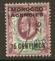 Morocco Agencies 1907 15c on 1½d Pale dull purple and green. SG1