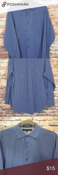 """Mens Striped Shirt: XL Tommy Hilfiger Striped Blue Shirt is in excellent condition.  NOTE: Tag says Medium on it, but it is actually an XL/fits like an XL. Please refer to measurements below:  Pit to Pit - 25"""" Length - 31"""" Sleeve - 24"""" Shoulders - 21"""" Tommy Hilfiger Shirts Casual Button Down Shirts"""