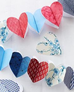I like the blue papers with the occasional red heart!