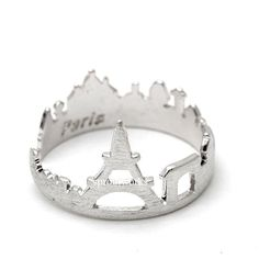 paris, paris ring, eiffle tower, eiffle tower ring, paris skyline ring, city ring, souvenir paris,  skyline ring, woman ring, france by sproutworks on Etsy