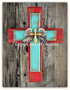 Wall Cross - Wood Cross - X-Small - Rustic Red and Turquoise with Wings Wooden Crosses, Crosses Decor, Wall Crosses, Mosaic Crosses, Rustic Cross, Rustic Art, Rustic Wood, Scripture Crafts, Turquoise Walls