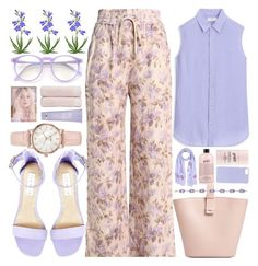 """""""Spring Pastel Floral Print Pants"""" by jiabao-krohn ❤ liked on Polyvore featuring Zimmermann, Nico Giani, philosophy, Kate Somerville, Christy, Phillip Gavriel, Steve Madden, Uniqlo, The Case Factory and Mosaique"""