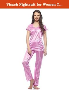 Visach Nightsuit for Women Top Pajama set for women nightwear. Visach Fabulous Comfortable Deep Pink Satin Short Sleeve Night Suit. It is comfortable and ensures a good night's sleep.