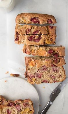 This Strawberry Mango Banana Bread is bursting with flavour. It is sweetened only with fruit and makes a delicious breakfast or snack for kids and babies.