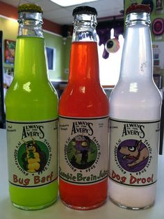 Gross soda flavors: Swamp Juice,   Toxic Slime, Dog Drool Soda, Bug Barf, Kitty Piddle and Monster Mucus.   By Avery's Beverages.