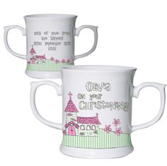 Whimsical Pink Church Occasion Loving Mug £12.95 Can also be printed for 'Naming Day' & 'Baptism'