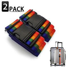 2 Pack Fragile For Airports and Travel- Adjustable Strap Fits Almost All Suitcases Bright Luggage Straps Handle With Care