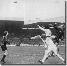 9th March 1974. Norman Hunter and Gordon McQueen combine to thwart Manchester City duo Colin Bell and Denis Law.