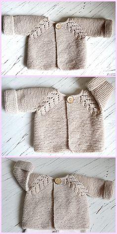 Baby Cardigan Knitting Pattern Free, Baby Boy Knitting Patterns, Knitted Baby Cardigan, Knit Baby Sweaters, Knitting For Kids, Baby Patterns, Knit Patterns, Free Knitting, Knitting Projects