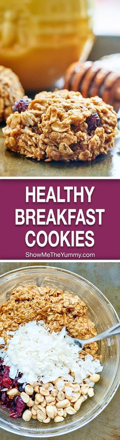 These healthy breakfast cookies are naturally sweetened with honey & full of good for you ingredients like whole wheat flour, orange, & old fashioned oats! http://showmetheyummy.com #healthy #breakfast