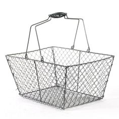 """Stella Wire Rectangular Mesh with Swing Handle - Gray.   $5.75  Dimensions: 12""""L x 8.5""""W x 6""""H, 11.5""""H (with handle)"""