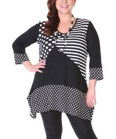 This Aster Black & White Polka Dot Tunic - Plus by Aster is perfect! #zulilyfinds
