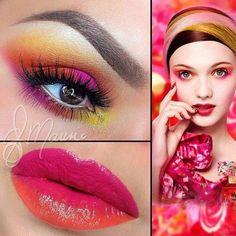 Orange Coral Eyes and Lips #eyemakeup #eyeshadow #smokyeye #springmakeup - bellashoot.com