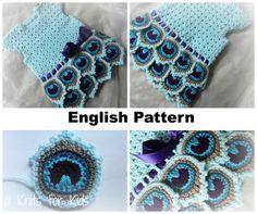 English Crochet Pattern Dress Peacock 0-18 by ElodyKnitsforKids