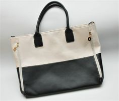 Black & White Concealed Carry Color Block Tote Bag