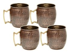 Old Dutch 16 oz Antique Hammered Solid Copper Moscow Mule Mugs - Set of 4 Hammered Copper Mugs, Solid Copper Mugs, Copper Bar, Antique Copper, Solid Brass, Copper Moscow Mule Mugs, Star Wars, Mugs For Sale, Beer Bar