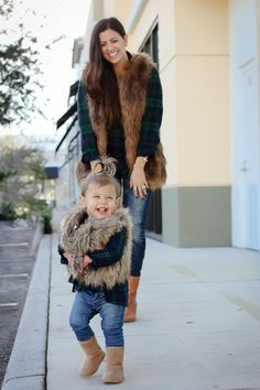 Mommy and Me photo shoot: Plaid and Faux Fur outfits