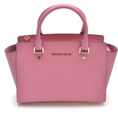 Michael Kors Dusty Rose Selma Leather Satchel ($250) ❤ liked on Polyvore featuring bags, handbags, leather handbags, satchel handbags, genuine leather handbags, genuine leather purse and pink leather purse